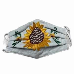 White yellow embroidered sunflower face mask OS